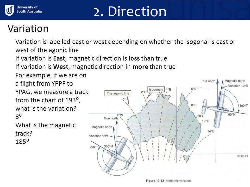 2. Direction Variation. Variation is labelled east or west depending on whether the isogonal is east or west of the agonic line.