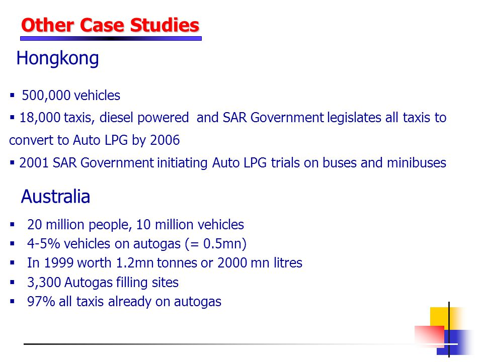 Other Case Studies Hongkong Australia 500,000 vehicles