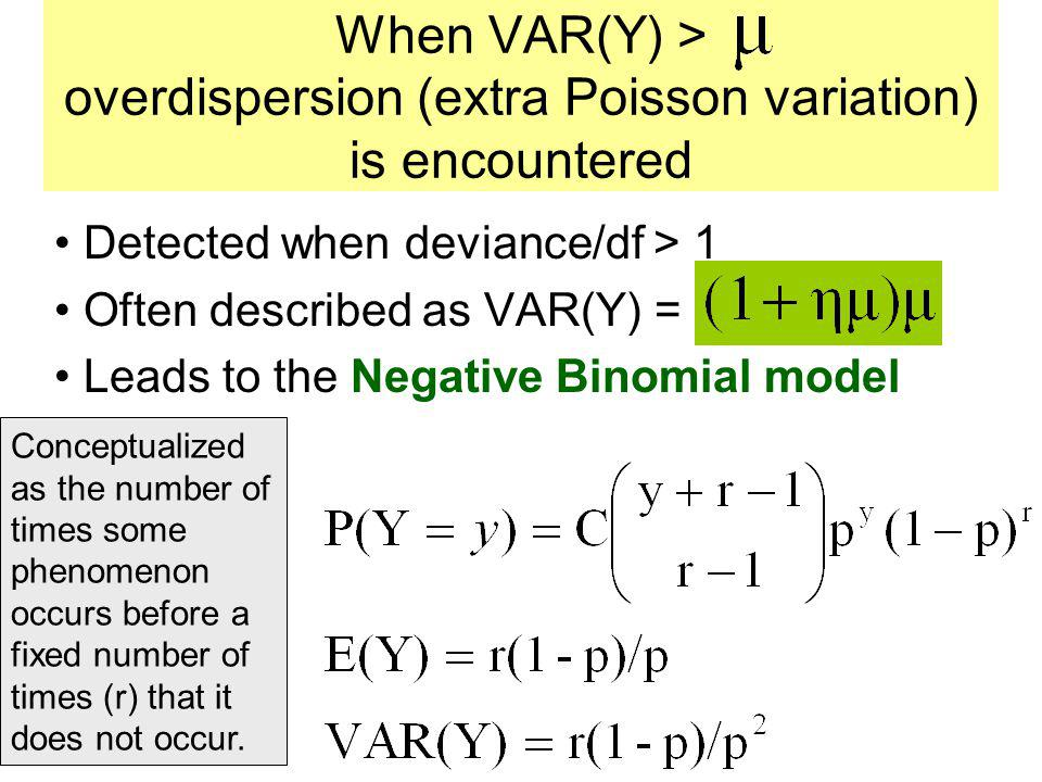 When VAR(Y) > overdispersion (extra Poisson variation) is encountered