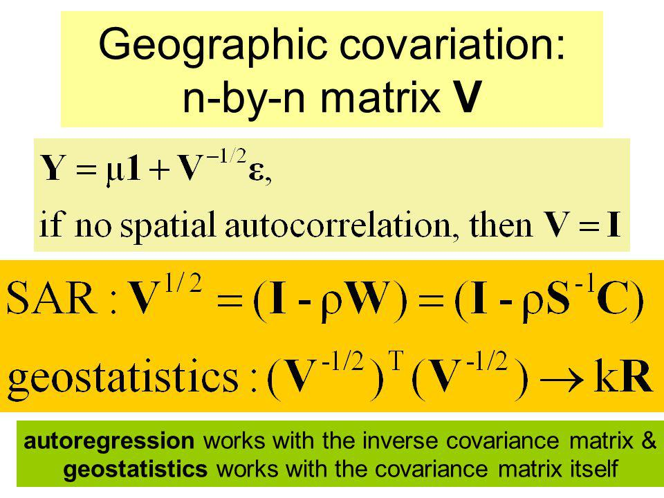 Geographic covariation: n-by-n matrix V