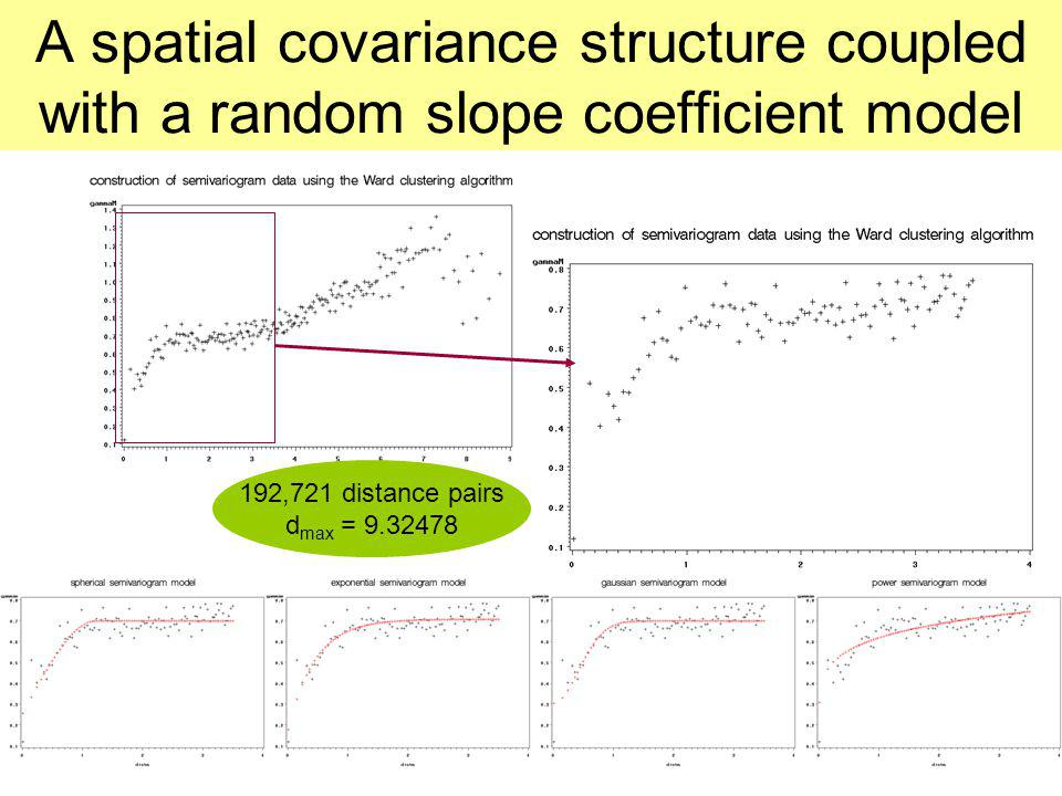 A spatial covariance structure coupled with a random slope coefficient model