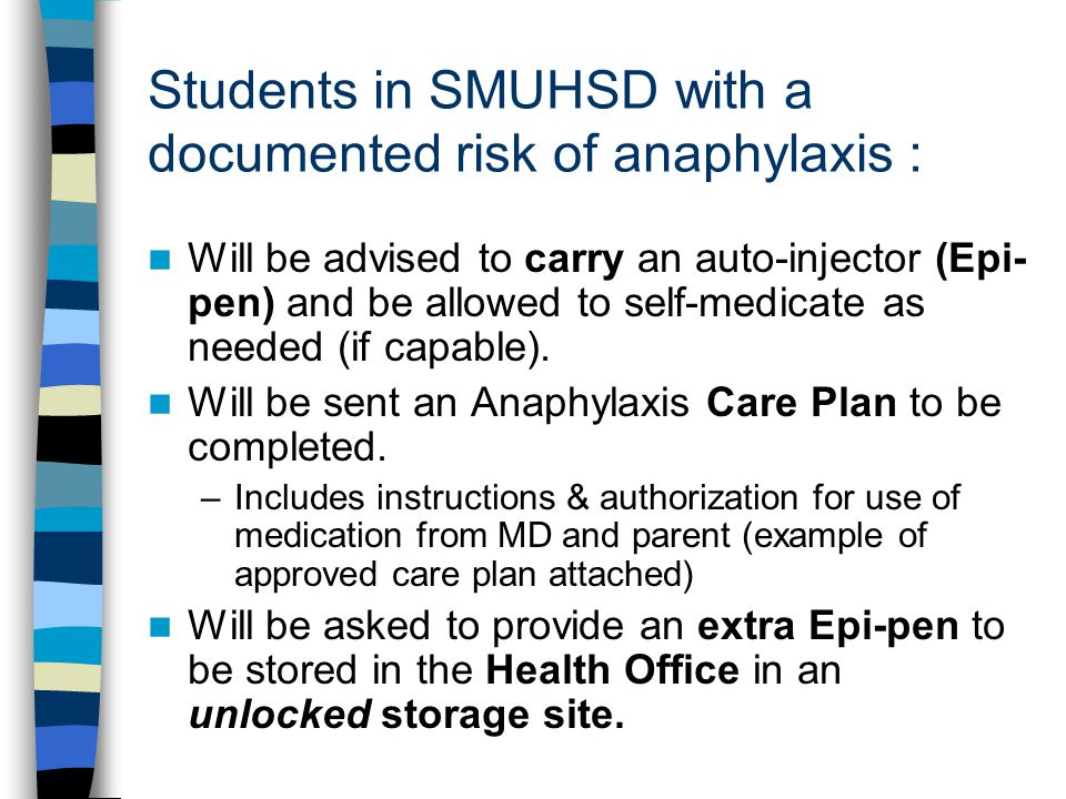 Students in SMUHSD with a documented risk of anaphylaxis :