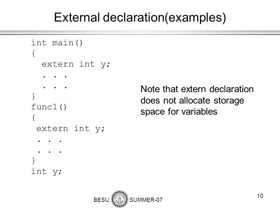 External declaration(examples)