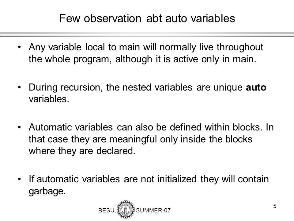 Few observation abt auto variables