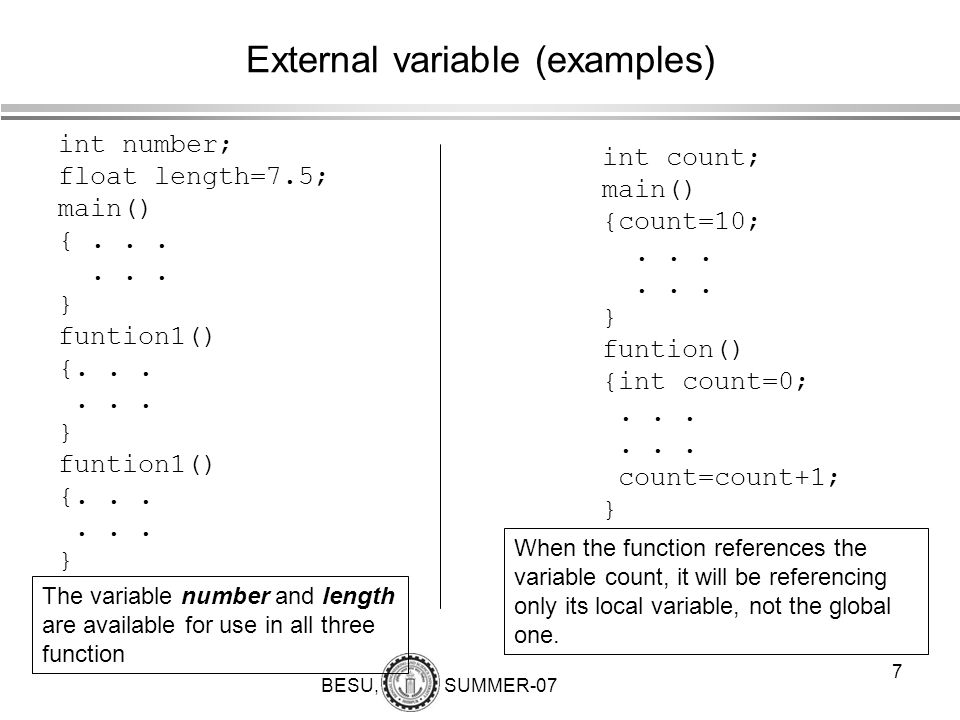 External variable (examples)