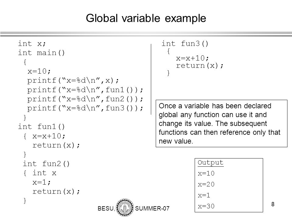 Global variable example