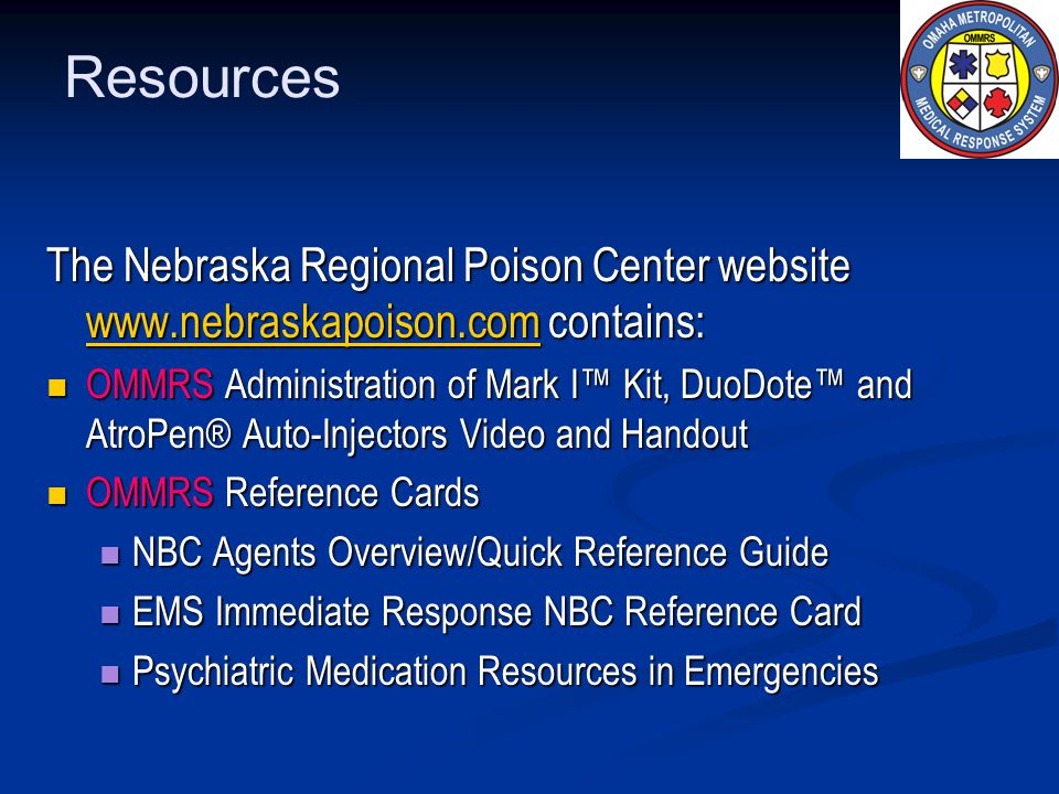 Resources The Nebraska Regional Poison Center website www.nebraskapoison.com contains: