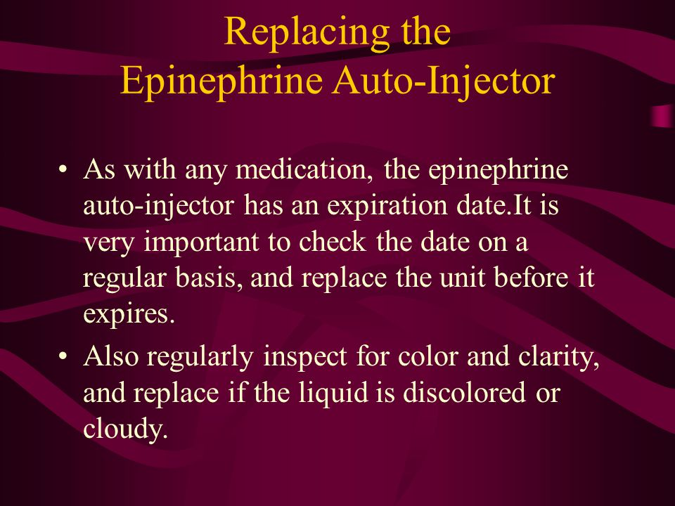 Replacing the Epinephrine Auto-Injector