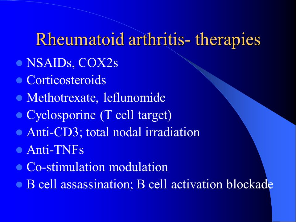 Rheumatoid arthritis- therapies