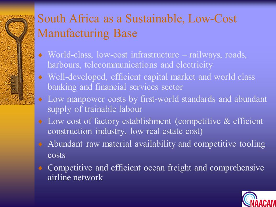 South Africa as a Sustainable, Low-Cost Manufacturing Base
