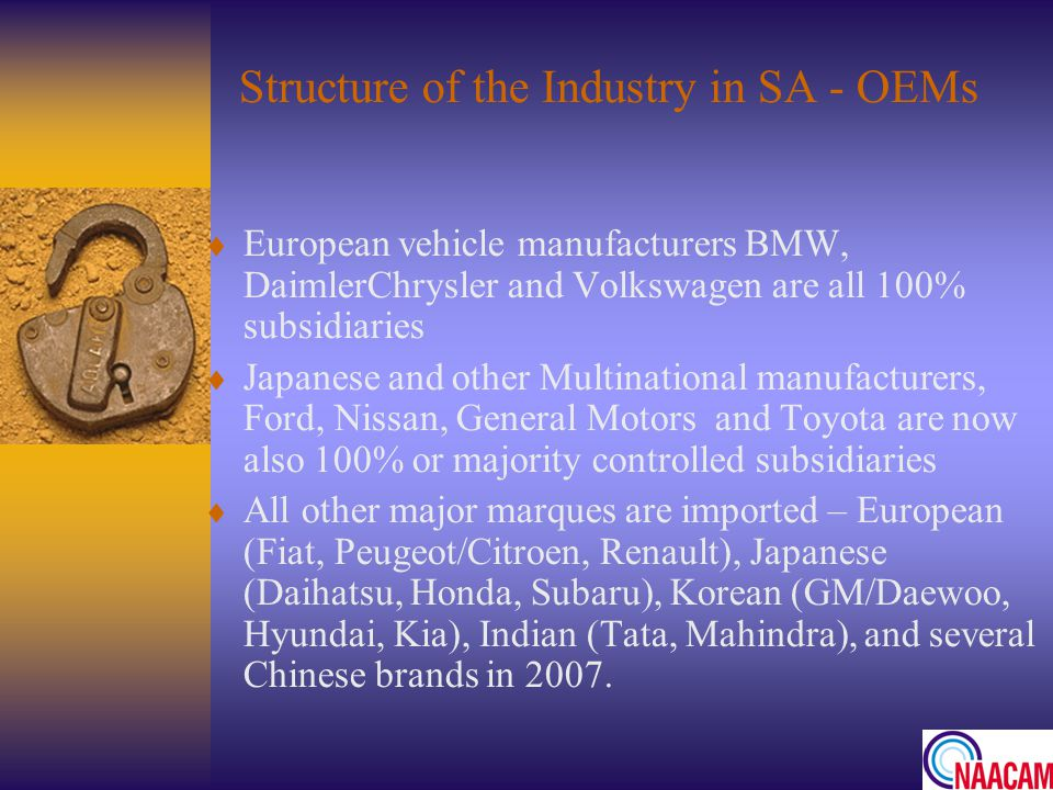 Structure of the Industry in SA - OEMs