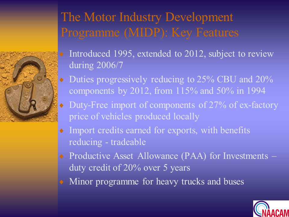 The Motor Industry Development Programme (MIDP): Key Features