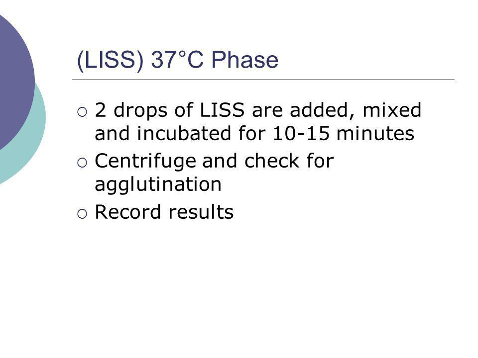 (LISS) 37°C Phase 2 drops of LISS are added, mixed and incubated for 10-15 minutes. Centrifuge and check for agglutination.