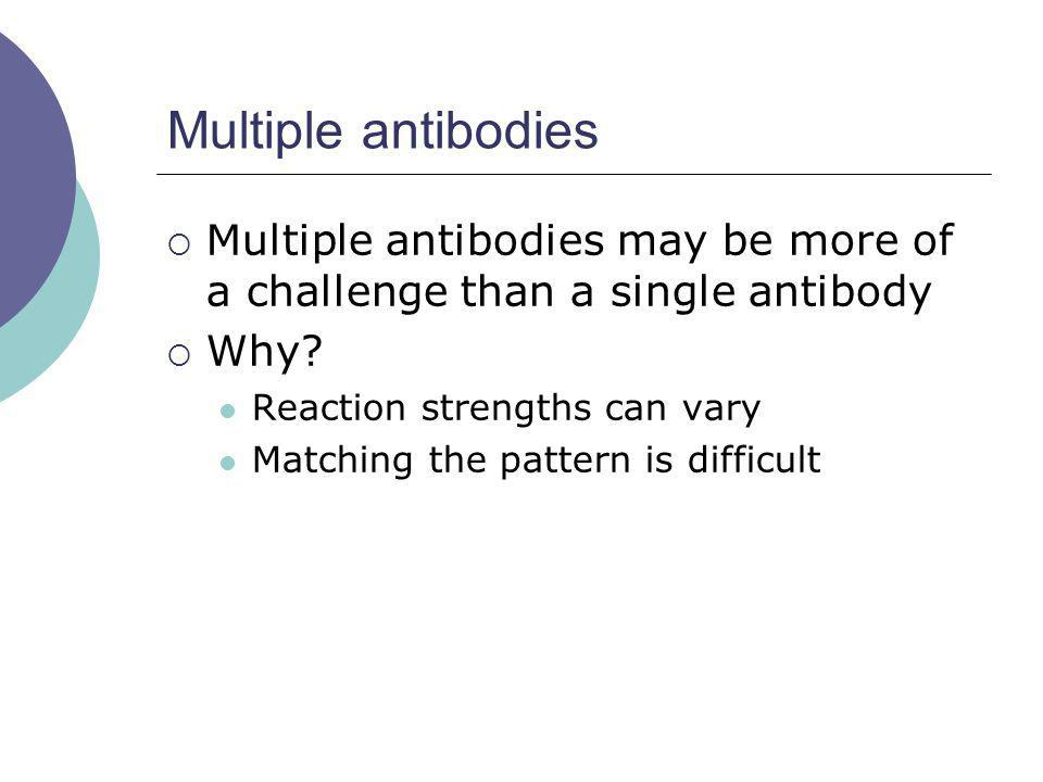 Multiple antibodies Multiple antibodies may be more of a challenge than a single antibody. Why Reaction strengths can vary.
