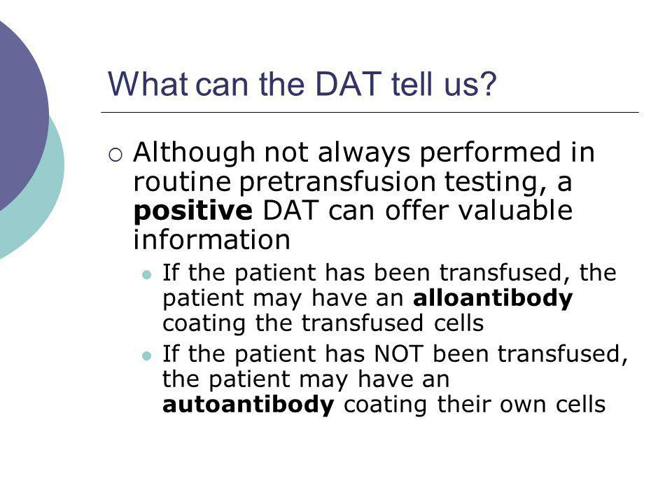 What can the DAT tell us Although not always performed in routine pretransfusion testing, a positive DAT can offer valuable information.