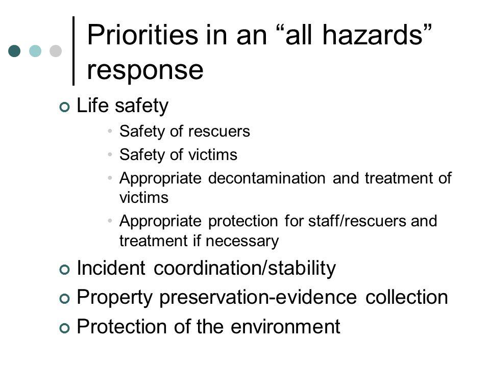 Priorities in an all hazards response