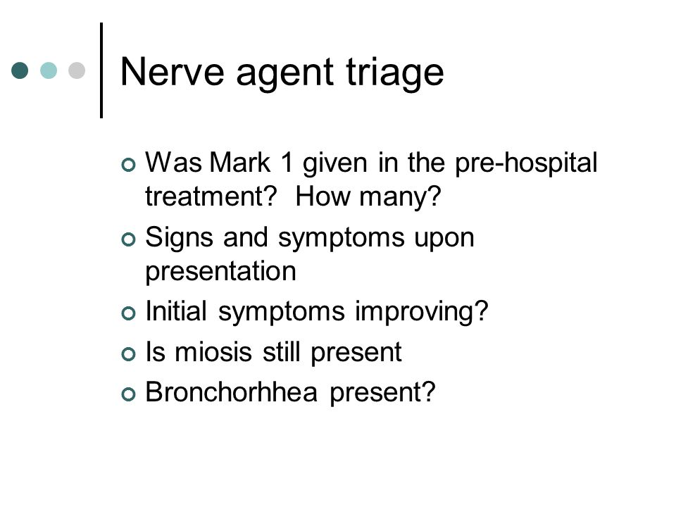 Nerve agent triage Was Mark 1 given in the pre-hospital treatment How many Signs and symptoms upon presentation.