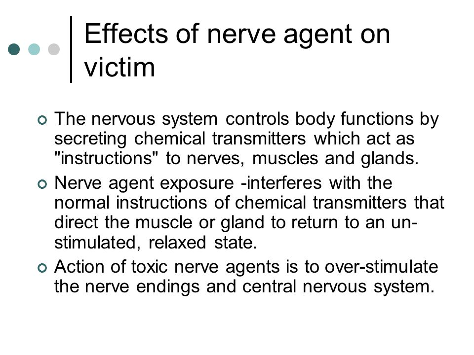 Effects of nerve agent on victim