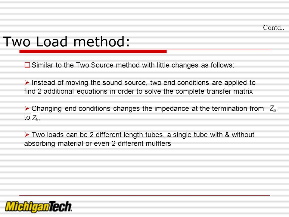 Contd.. Two Load method: Similar to the Two Source method with little changes as follows: