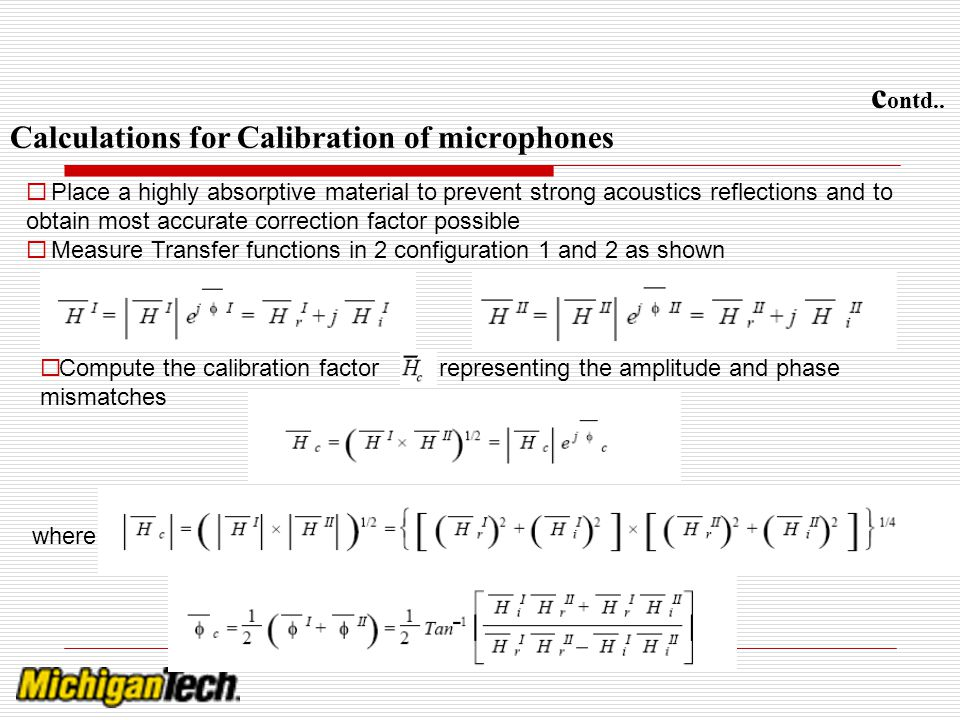 contd.. Calculations for Calibration of microphones