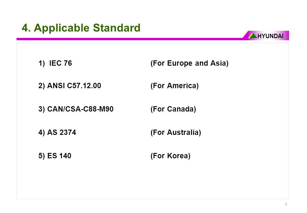 4. Applicable Standard 1) IEC 76 (For Europe and Asia)