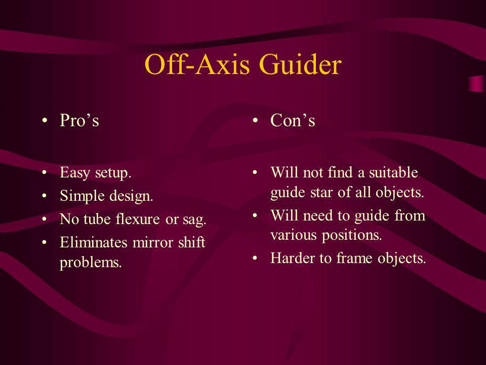 Off-Axis Guider Pro's Con's Easy setup. Simple design.