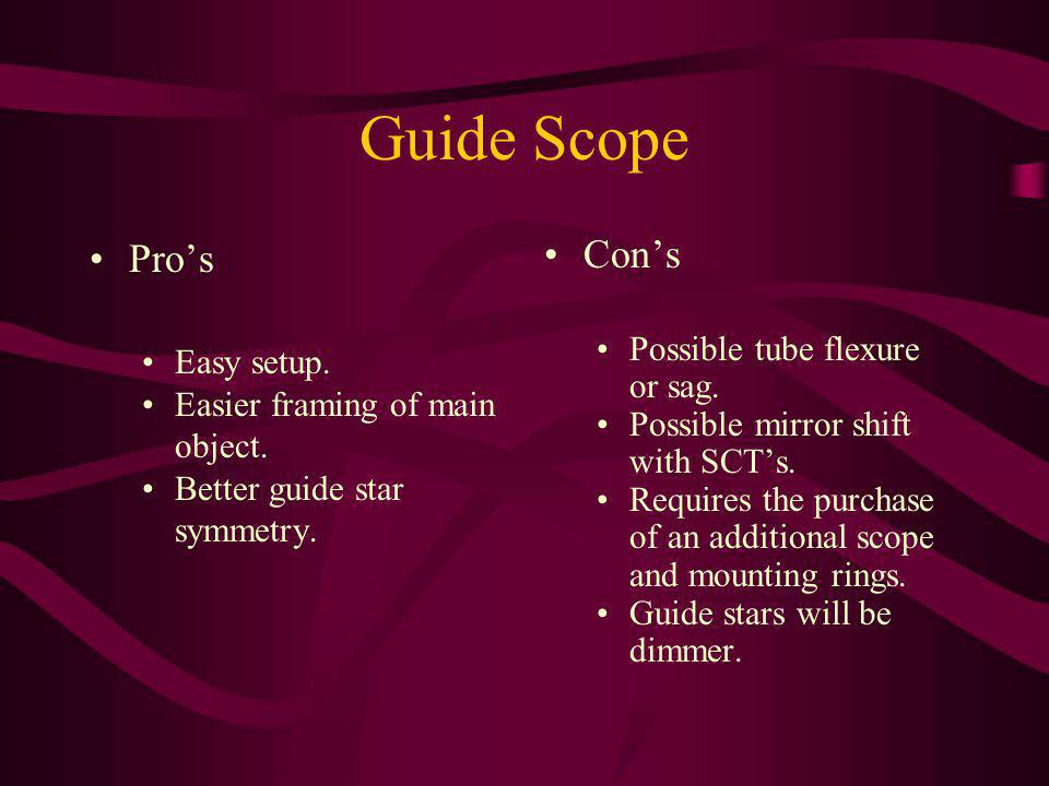 Guide Scope Pro's Con's Possible tube flexure or sag. Easy setup.