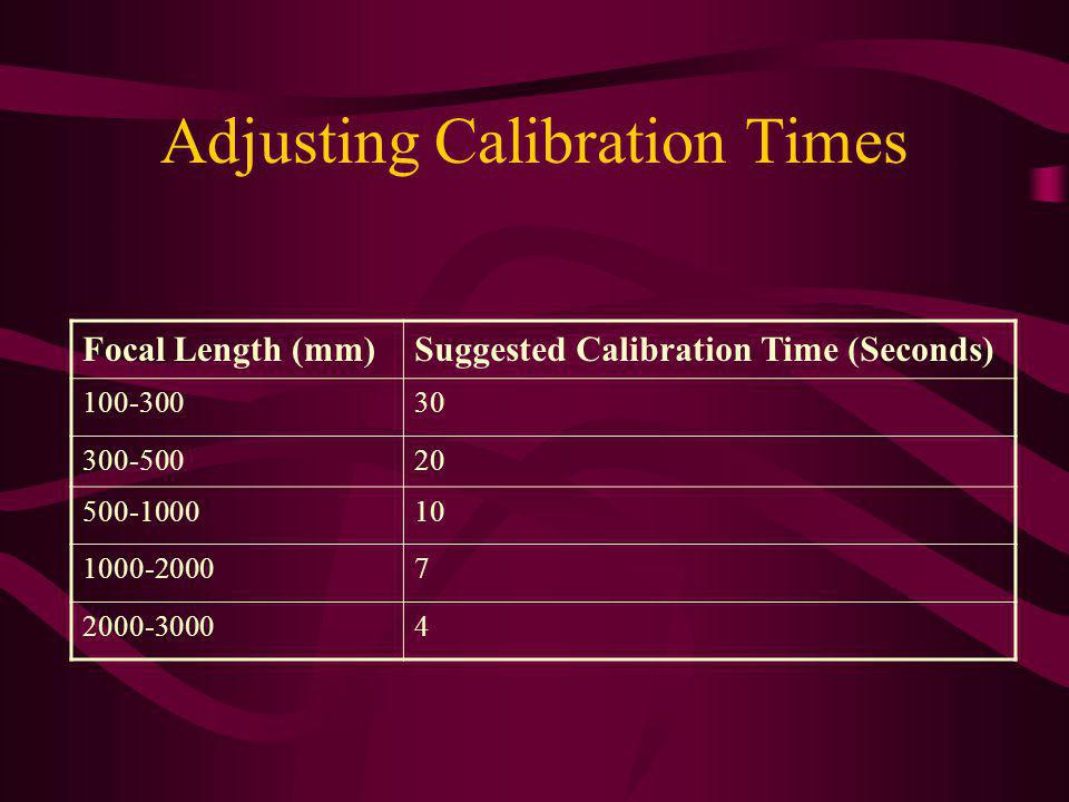 Adjusting Calibration Times