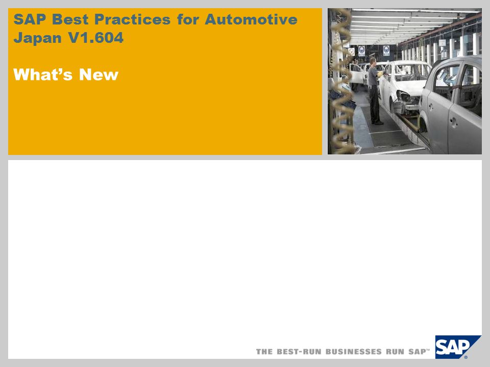 SAP Best Practices for Automotive Japan V1.604 What's New
