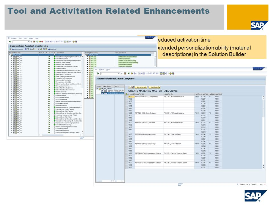 Tool and Activitation Related Enhancements