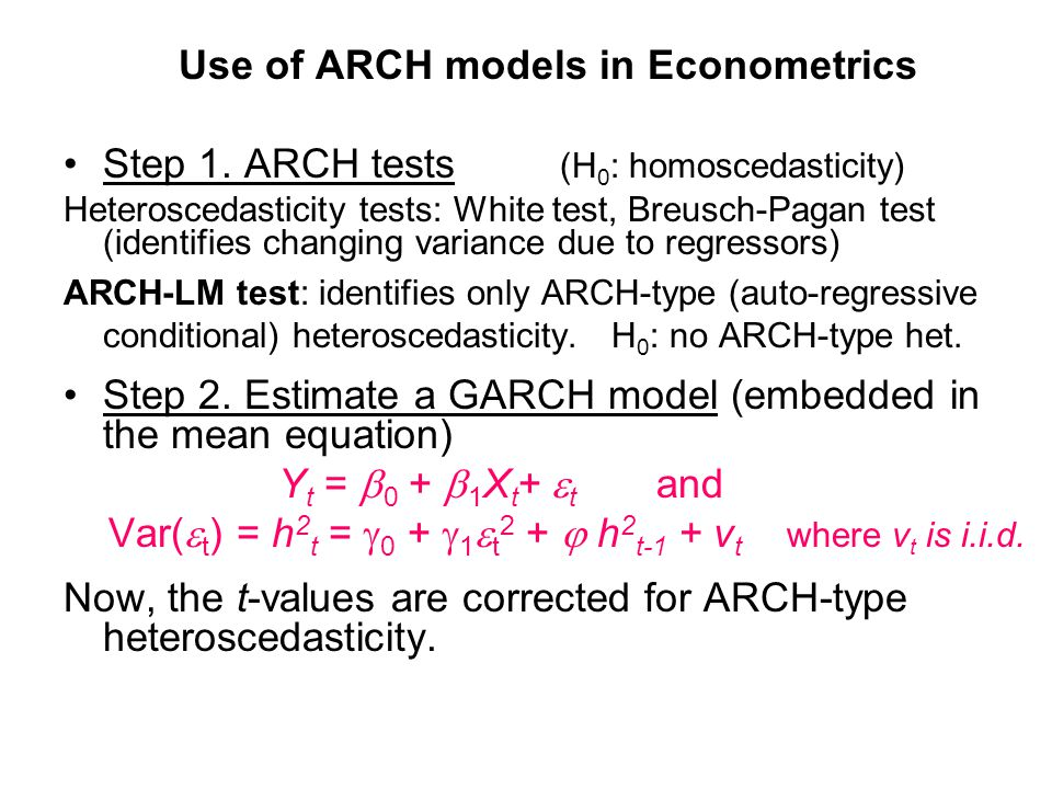 Use of ARCH models in Econometrics
