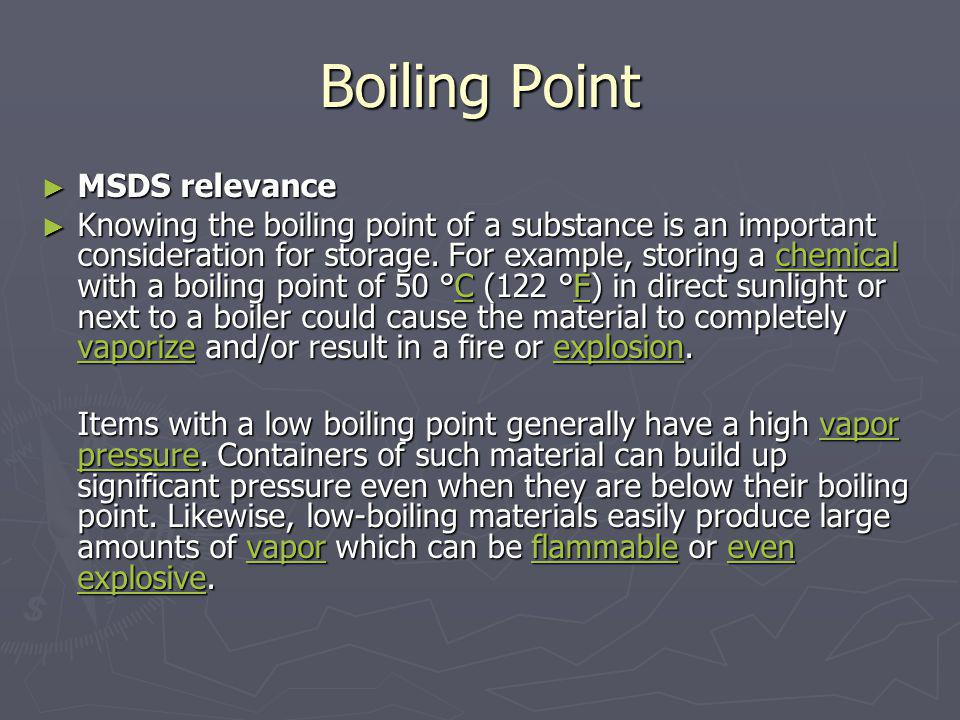 Boiling Point MSDS relevance