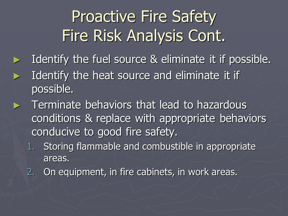 Proactive Fire Safety Fire Risk Analysis Cont.