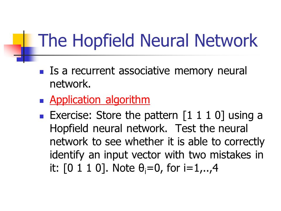 The Hopfield Neural Network