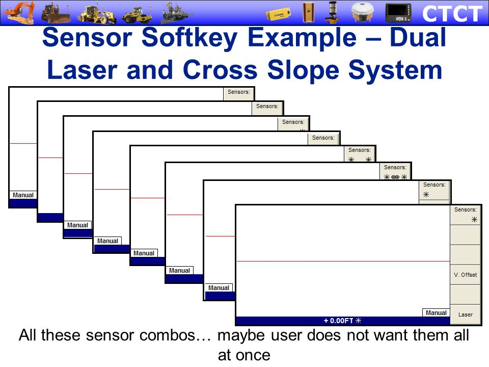 Sensor Softkey Example – Dual Laser and Cross Slope System