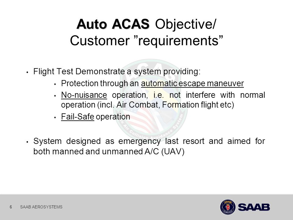 Auto ACAS Objective/ Customer requirements