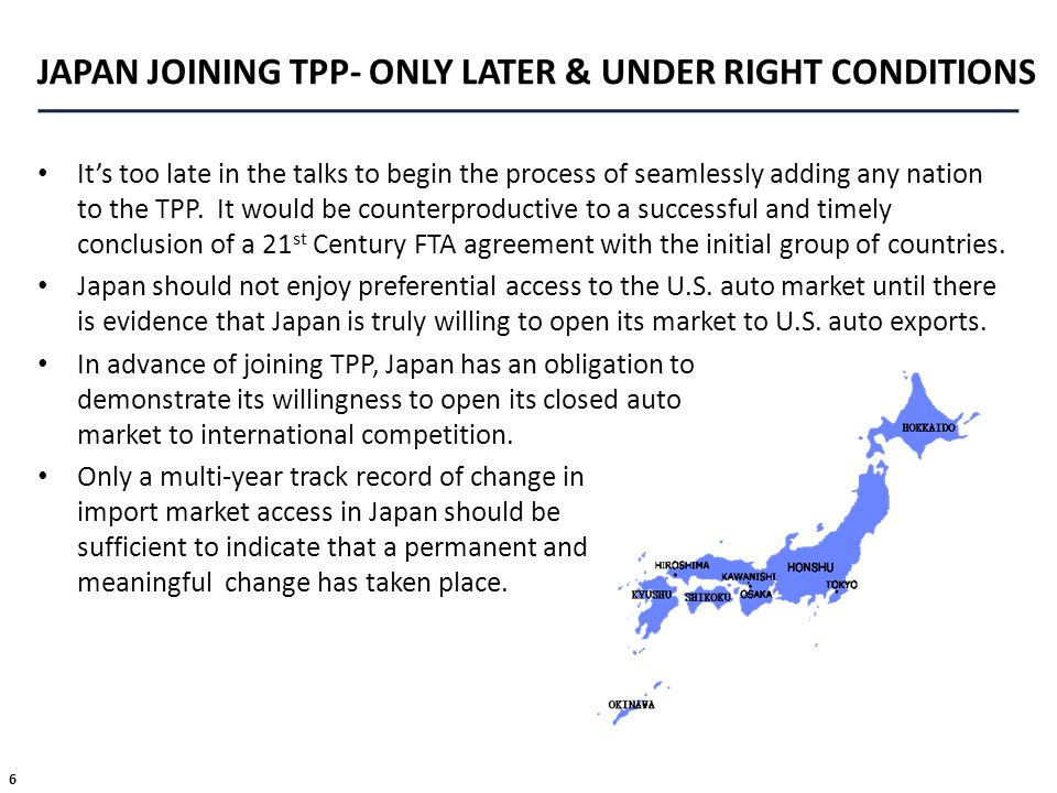 JAPAN JOINING TPP- ONLY LATER & UNDER RIGHT CONDITIONS