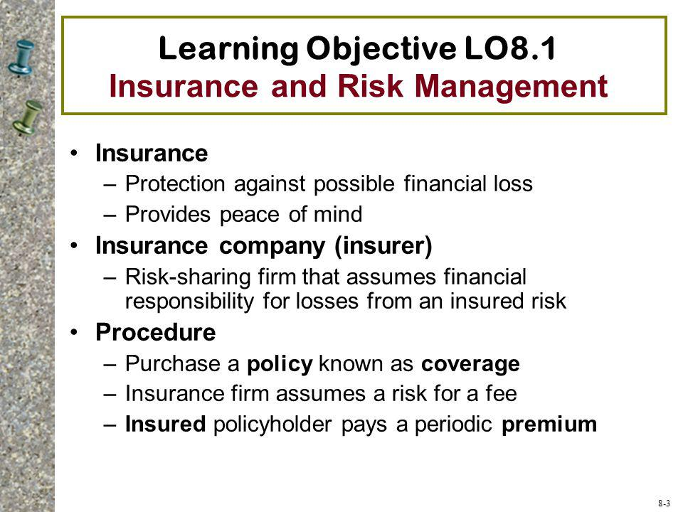 Learning Objective LO8.1 Insurance and Risk Management