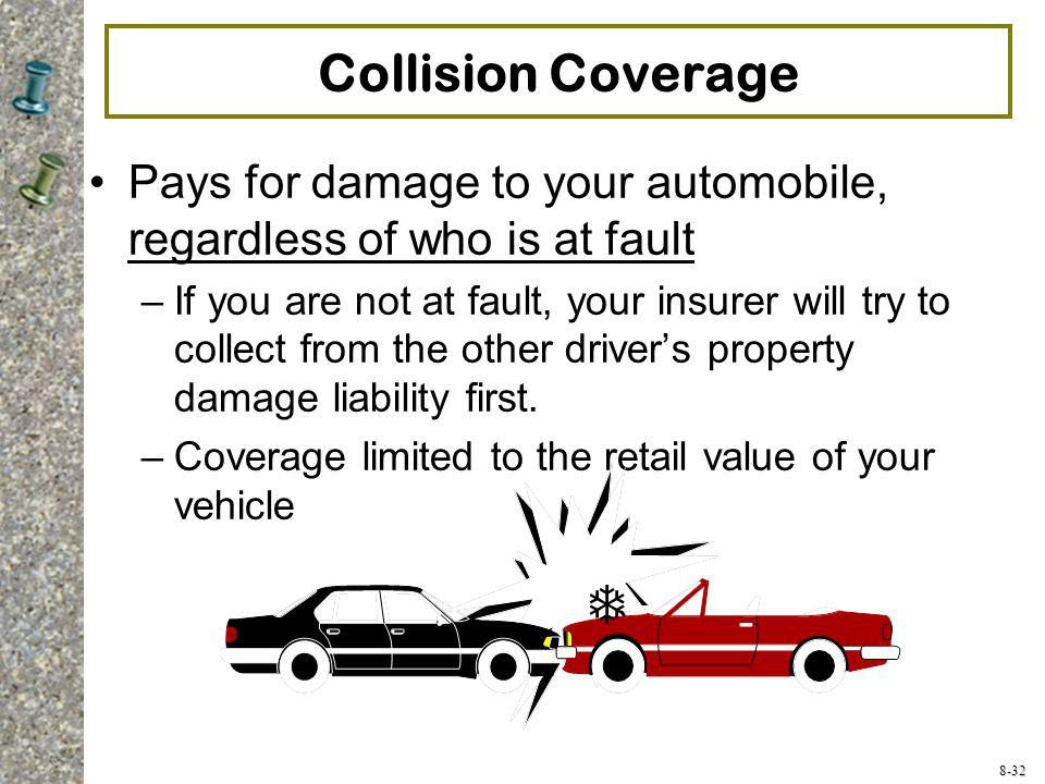 Collision Coverage Pays for damage to your automobile, regardless of who is at fault.