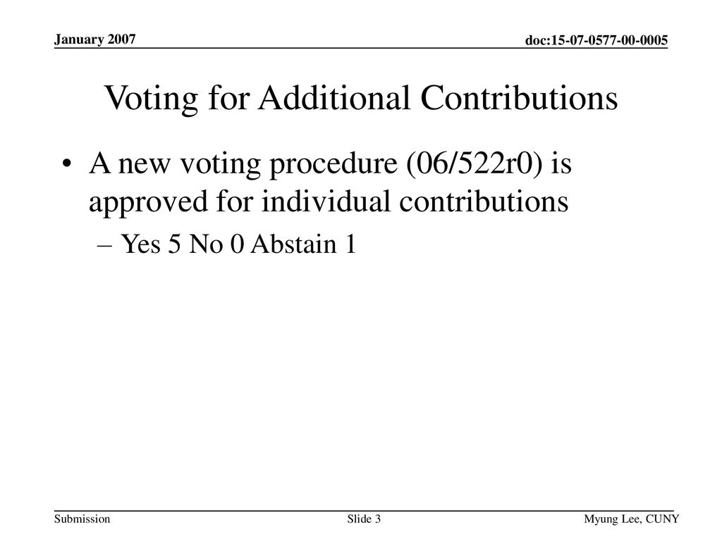 Voting for Additional Contributions