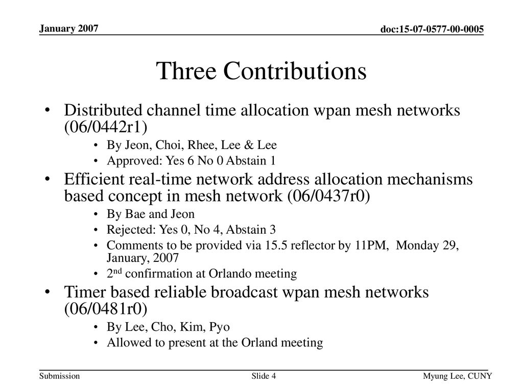 January 2007 Three Contributions. Distributed channel time allocation wpan mesh networks (06/0442r1)