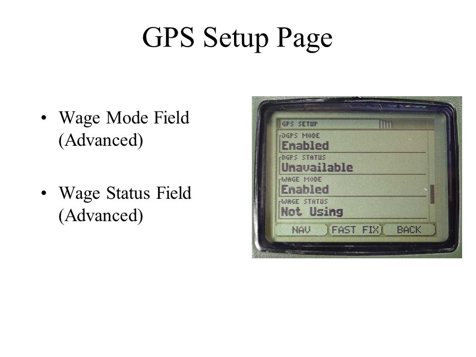 GPS Setup Page Wage Mode Field (Advanced) Wage Status Field (Advanced)