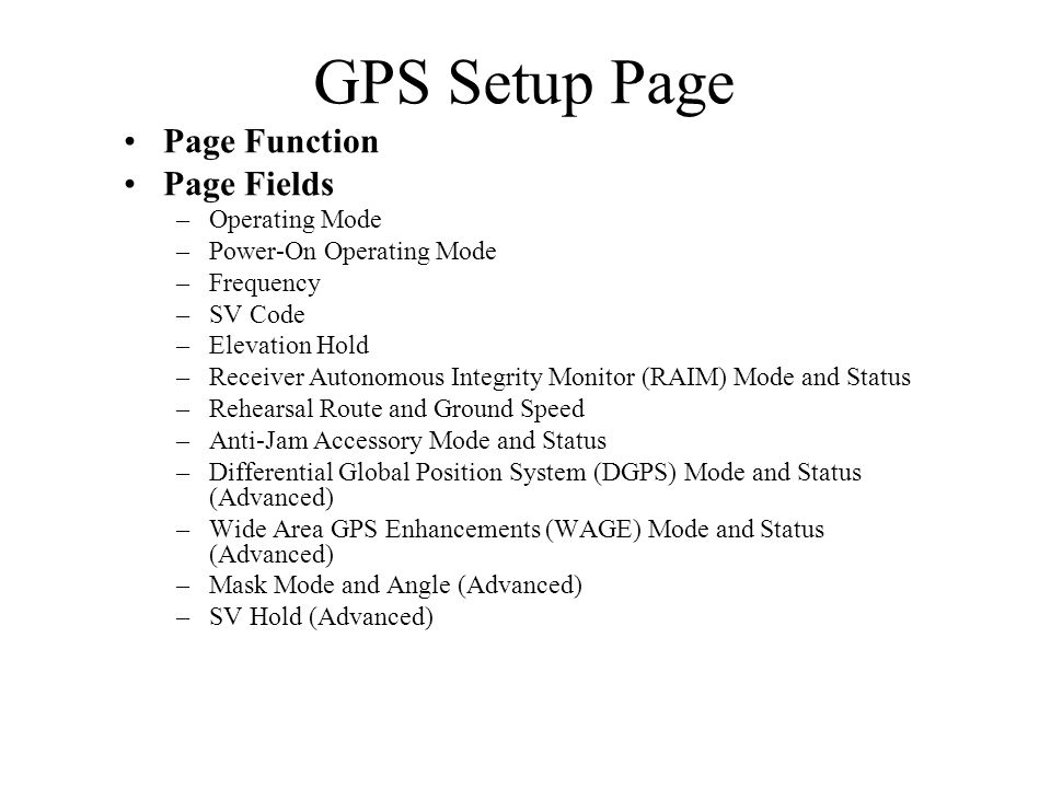 GPS Setup Page Page Function Page Fields Operating Mode