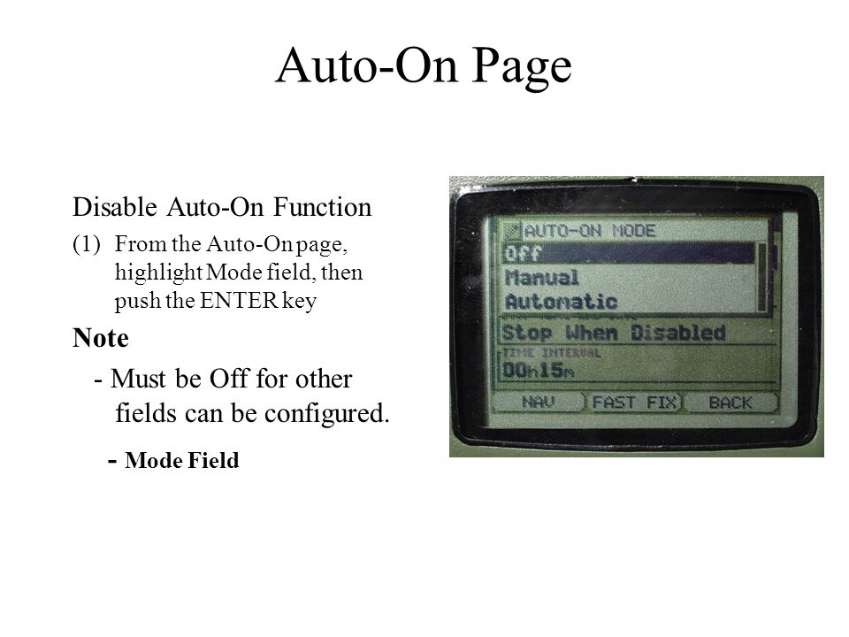 Auto-On Page Disable Auto-On Function Note