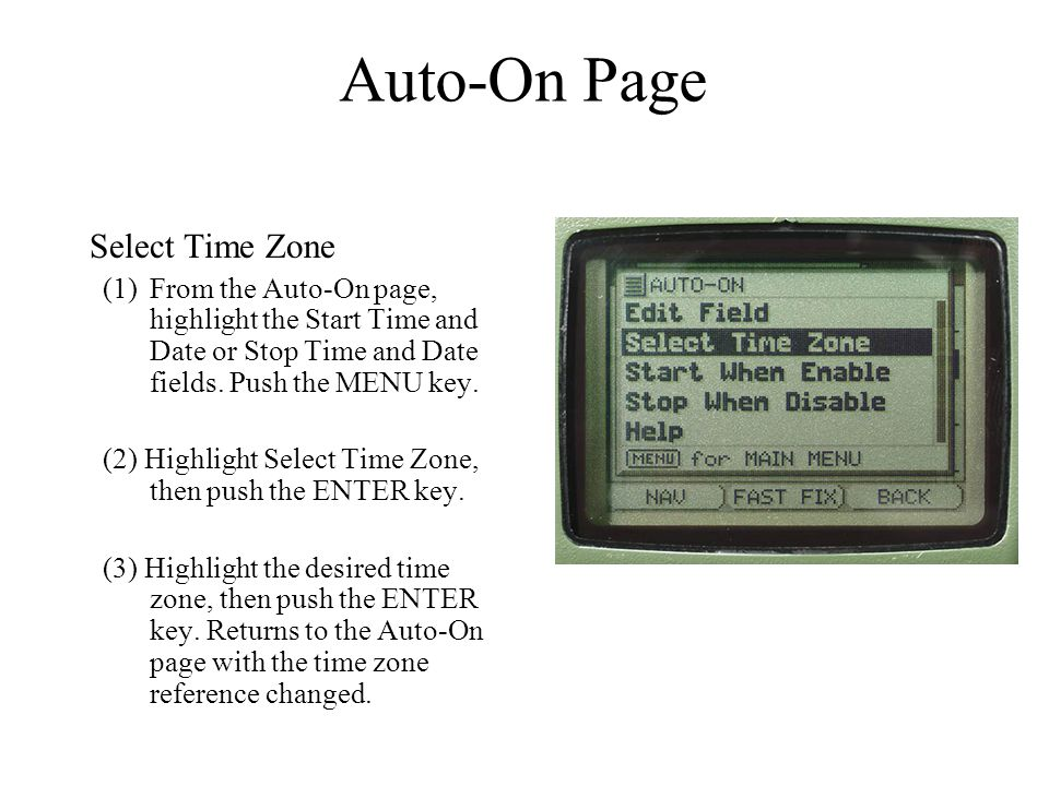 Auto-On Page Select Time Zone