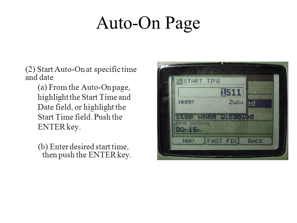 Auto-On Page (2) Start Auto-On at specific time and date