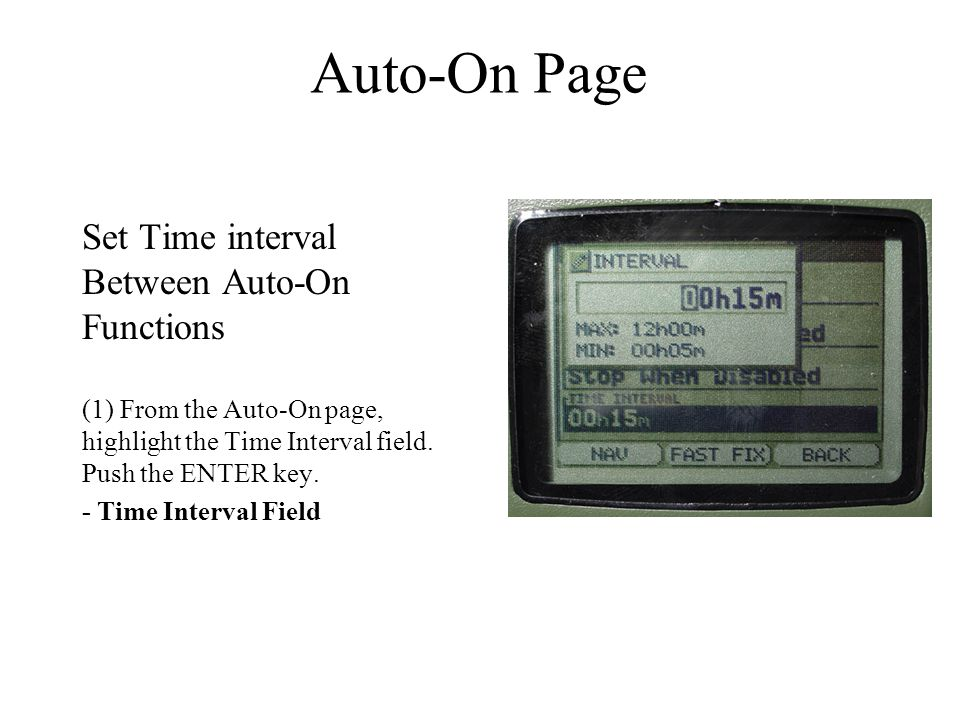 Auto-On Page Set Time interval Between Auto-On Functions