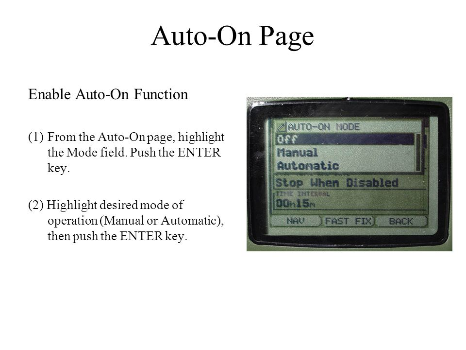 Auto-On Page Enable Auto-On Function
