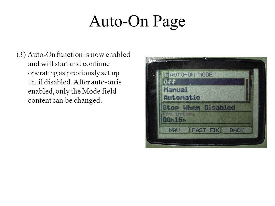 Auto-On Page