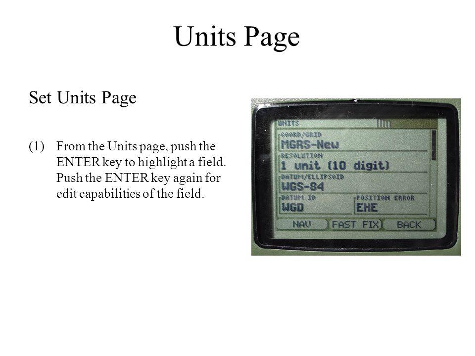 Units Page Set Units Page